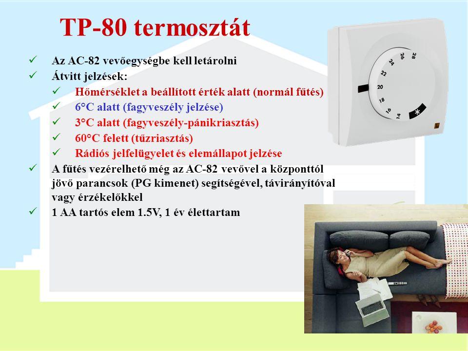 AC-82 vevőegység  Tápfeszültség: 230V, 50Hz  2 kimeneti relé (X és Y) - max 5A  Használható:  Központi egységgel  Érzékelőkkel  RC-8x távirányít