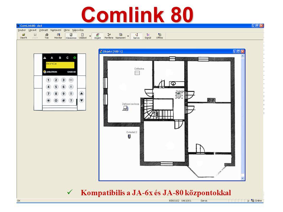A JA-80T interfész kábel  A központi egység és a számítógép csatlakoztatására  USB interfészre csatlakoztatható  Használható a ComLink 80 és felett