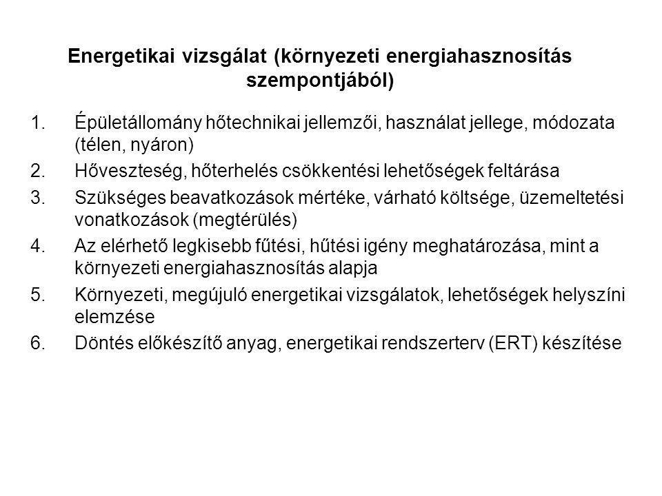 Energetikai vizsgálat (környezeti energiahasznosítás szempontjából) 1.Épületállomány hőtechnikai jellemzői, használat jellege, módozata (télen, nyáron