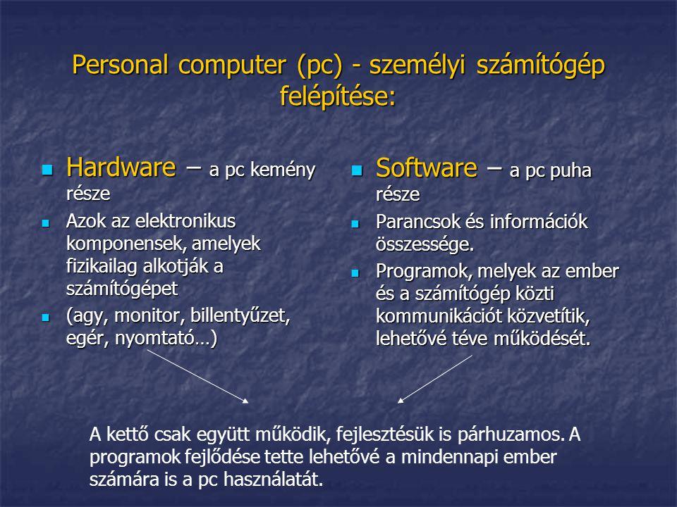 A hardware: a pc felépítése A pc típusai: asztali számítógép, laptop és notebook, pda Az agy – a pc központi szerve; doboz (ház, vagy torony), amely tartalmazzaa processzort, a memóriákat, a telepet, ventillátort.