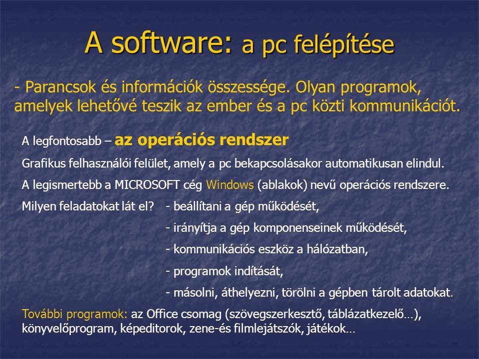 A software: a pc felépítése - Parancsok és információk összessége. Olyan programok, amelyek lehetővé teszik az ember és a pc közti kommunikációt. A le