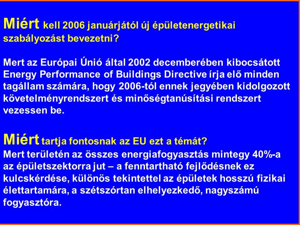 Miért kell 2006 januárjától új épületenergetikai szabályozást bevezetni? Mert az Európai Únió által 2002 decemberében kibocsátott Energy Performance o