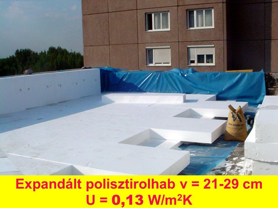 Expandált polisztirolhab v = 21-29 cm U = 0,13 W/m 2 K