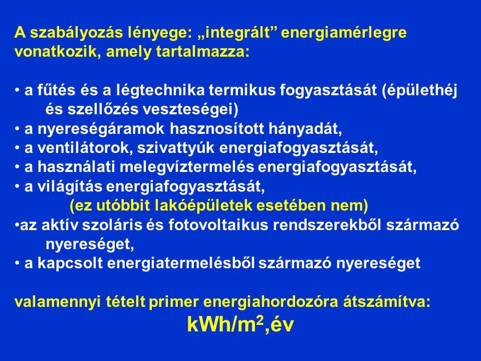 """A szabályozás lényege: """"integrált"""" energiamérlegre vonatkozik, amely tartalmazza: • a fűtés és a légtechnika termikus fogyasztását (épülethéj és szell"""