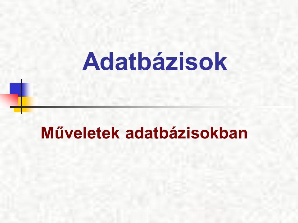 Adatbázisok Műveletek adatbázisokban