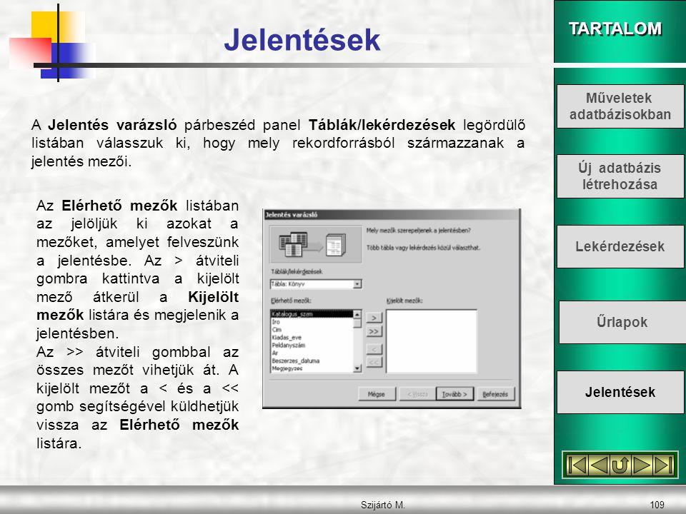 TARTALOM Szijártó M.110 A következő párbeszéd panelen adjuk meg, hogy melyik mező(k) szerint szeretnénk csoportosítani az adatokat.