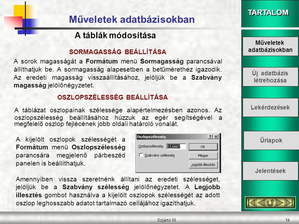 TARTALOM Szijártó M.14 Műveletek adatbázisokban SORMAGASSÁG BEÁLLÍTÁSA A sorok magasságát a Formátum menü Sormagasság parancsával állíthatjuk be. A so