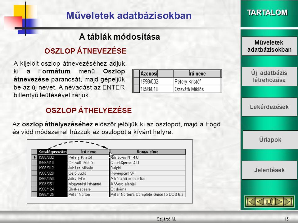 TARTALOM Szijártó M.15 Műveletek adatbázisokban OSZLOP ÁTNEVEZÉSE A kijelölt oszlop átnevezéséhez adjuk ki a Formátum menü Oszlop átnevezése parancsát