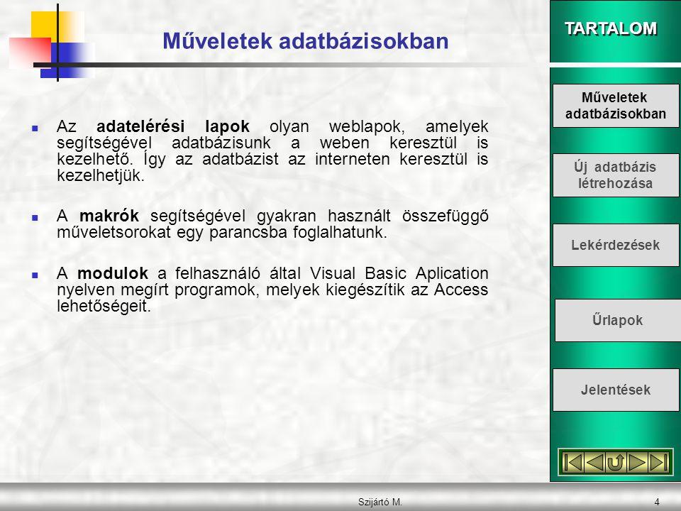 TARTALOM Szijártó M.4 Műveletek adatbázisokban  Az adatelérési lapok olyan weblapok, amelyek segítségével adatbázisunk a weben keresztül is kezelhető