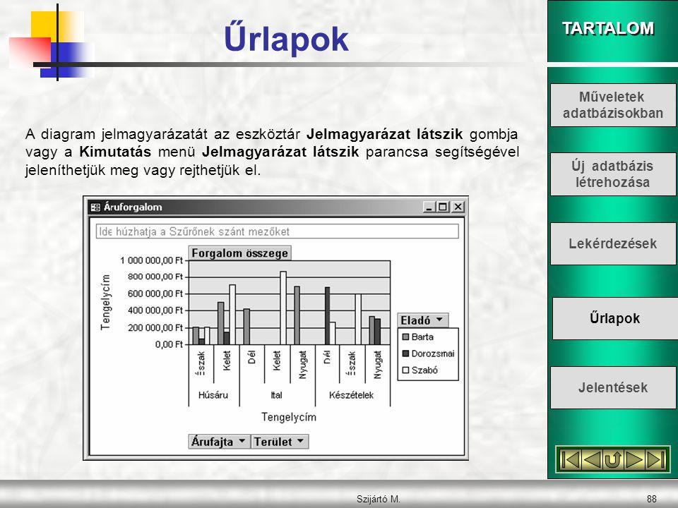 TARTALOM Szijártó M.89 A Típus gombra kattintva megjelenő párbeszéd panel segítségével megváltoztathatjuk a diagram típusát, illetve egyes tulajdonságait és formátumát.