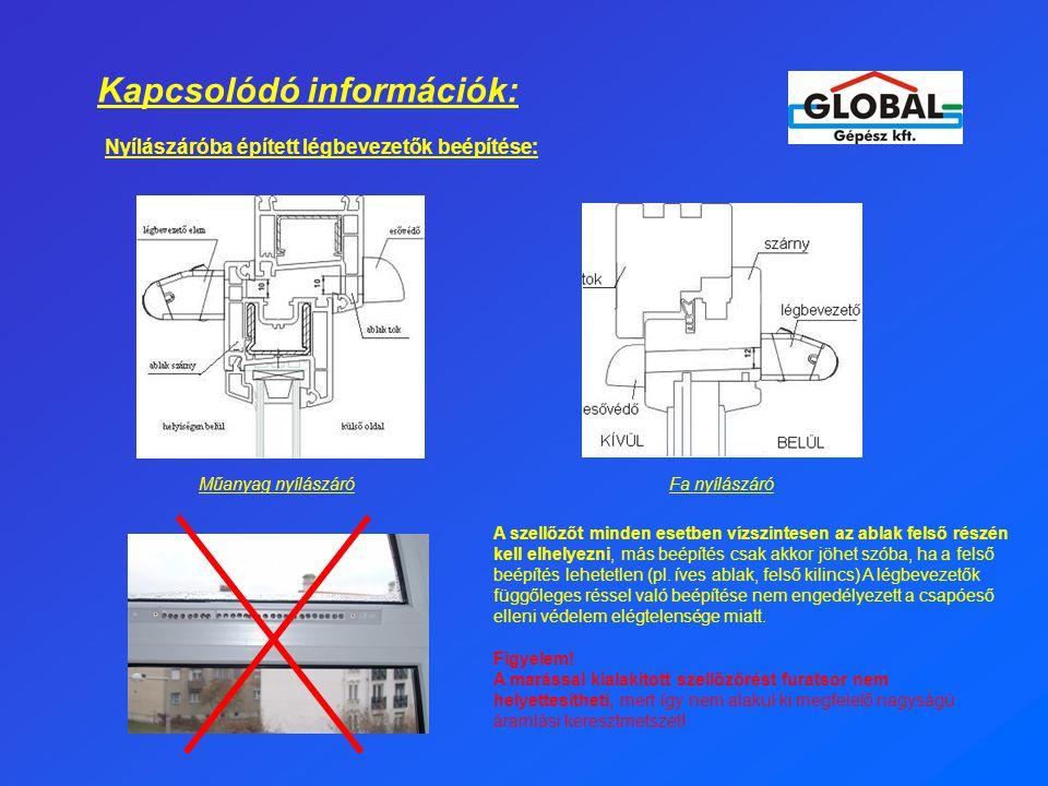Kapcsolódó információk: Nyílászáróba épített légbevezetők beépítése: A szellőzőt minden esetben vízszintesen az ablak felső részén kell elhelyezni, más beépítés csak akkor jöhet szóba, ha a felső beépítés lehetetlen (pl.