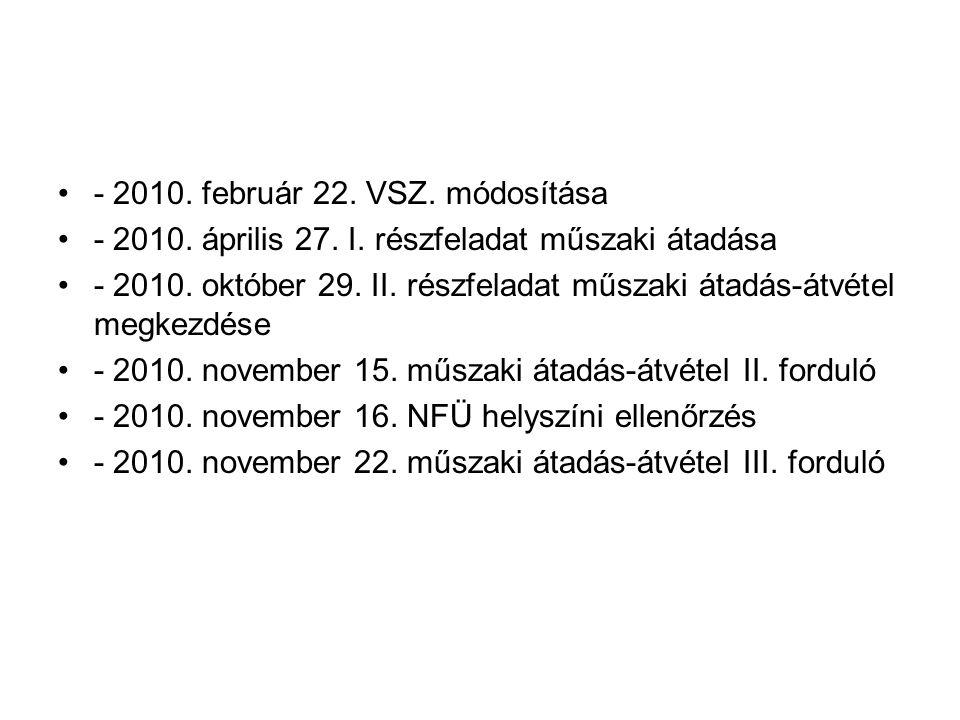 •- 2010. február 22. VSZ. módosítása •- 2010. április 27. I. részfeladat műszaki átadása •- 2010. október 29. II. részfeladat műszaki átadás-átvétel m