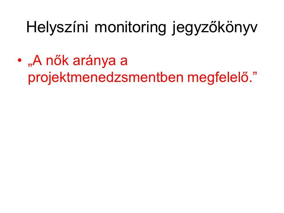 """Helyszíni monitoring jegyzőkönyv •""""A nők aránya a projektmenedzsmentben megfelelő."""""""