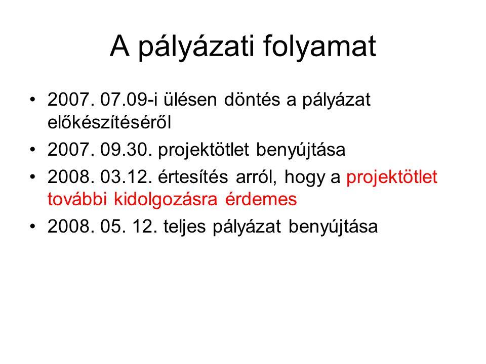 A pályázati folyamat •2007. 07.09-i ülésen döntés a pályázat előkészítéséről •2007. 09.30. projektötlet benyújtása •2008. 03.12. értesítés arról, hogy