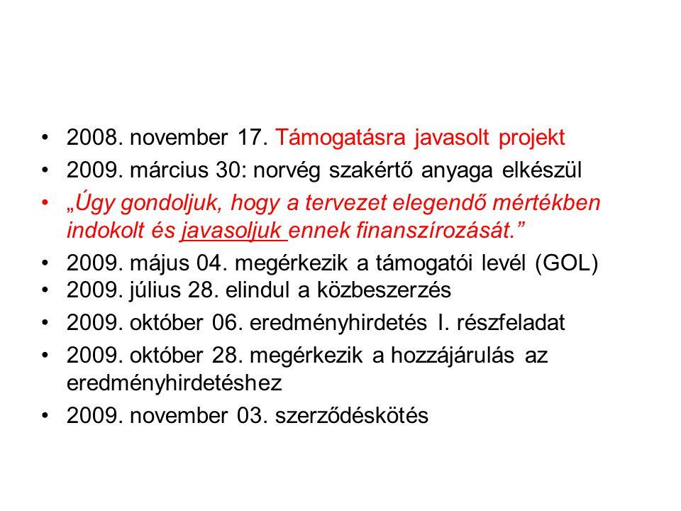 """•2008. november 17. Támogatásra javasolt projekt •2009. március 30: norvég szakértő anyaga elkészül •""""Úgy gondoljuk, hogy a tervezet elegendő mértékbe"""
