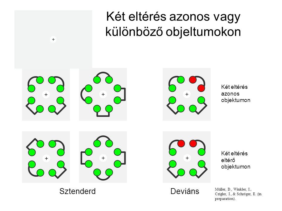 Két eltérés azonos vagy különböző objeltumokon SztenderdDeviáns Két eltérés azonos objektumon Két eltérés eltérő objektumon Müller, D., Winkler, I., Czigler, I., & Schröger, E.