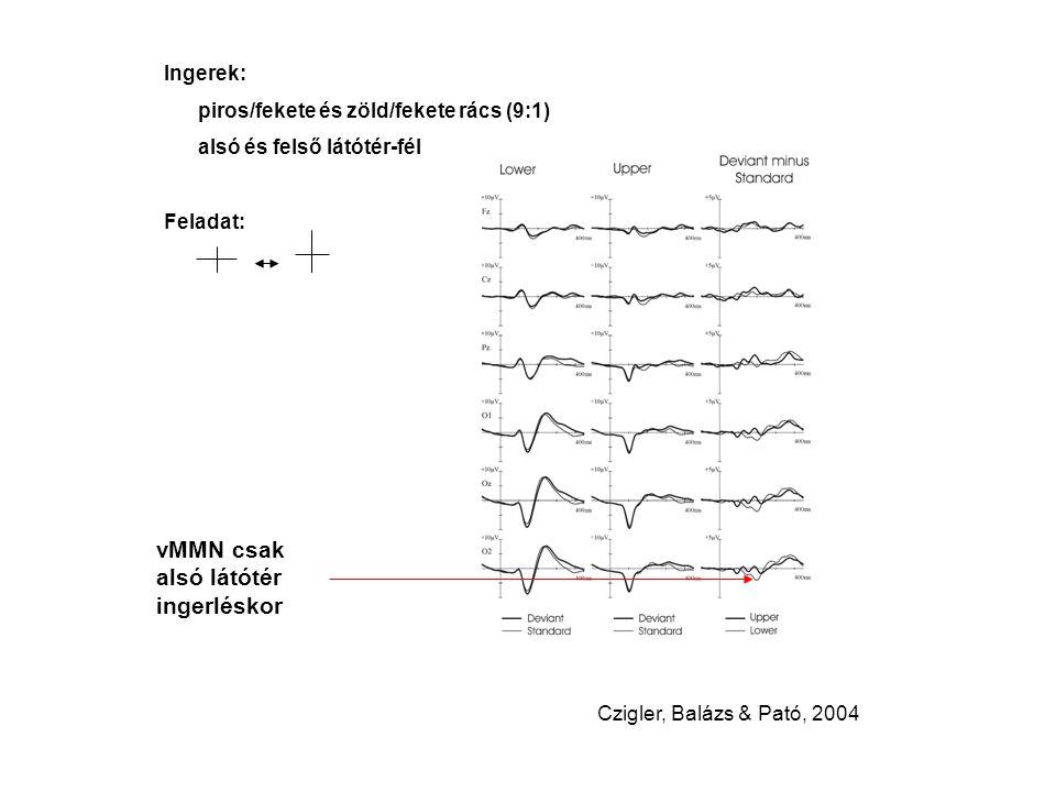 Ingerek: piros/fekete és zöld/fekete rács (9:1) alsó és felső látótér-fél Feladat: vMMN csak alsó látótér ingerléskor Czigler, Balázs & Pató, 2004
