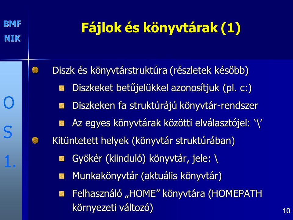 10 Fájlok és könyvtárak (1) Diszk és könyvtárstruktúra (részletek később) Diszkeket betűjelükkel azonosítjuk (pl. c:) Diszkeken fa struktúrájú könyvtá