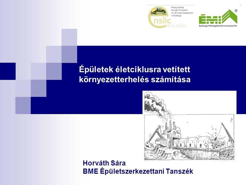 Épületek életciklusra vetített környezetterhelés számítása Horváth Sára BME Épületszerkezettani Tanszék