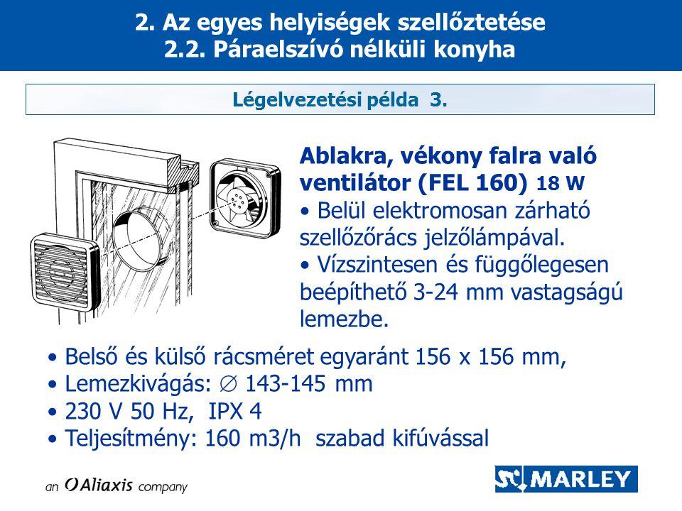 Légelvezetési példa 3. Ablakra, vékony falra való ventilátor (FEL 160) 18 W • Belül elektromosan zárható szellőzőrács jelzőlámpával. • Vízszintesen és