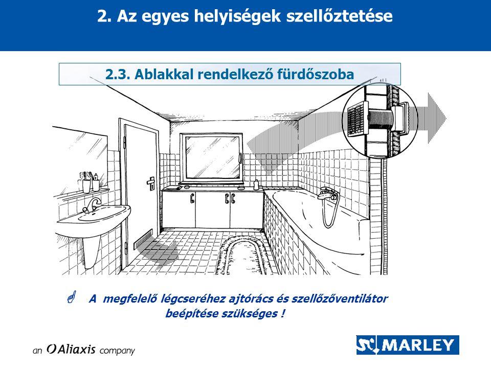 2. Az egyes helyiségek szellőztetése  A megfelelő légcseréhez ajtórács és szellőzőventilátor beépítése szükséges ! 2.3. Ablakkal rendelkező fürdőszob