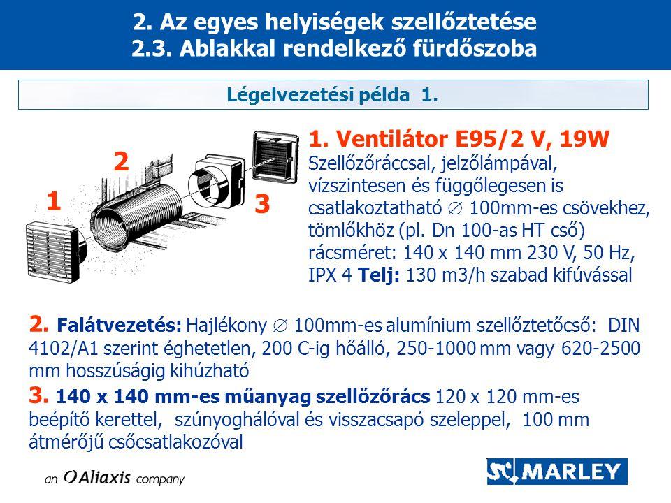 2. Az egyes helyiségek szellőztetése 2.3. Ablakkal rendelkező fürdőszoba 1. Ventilátor E95/2 V, 19W Szellőzőráccsal, jelzőlámpával, vízszintesen és fü