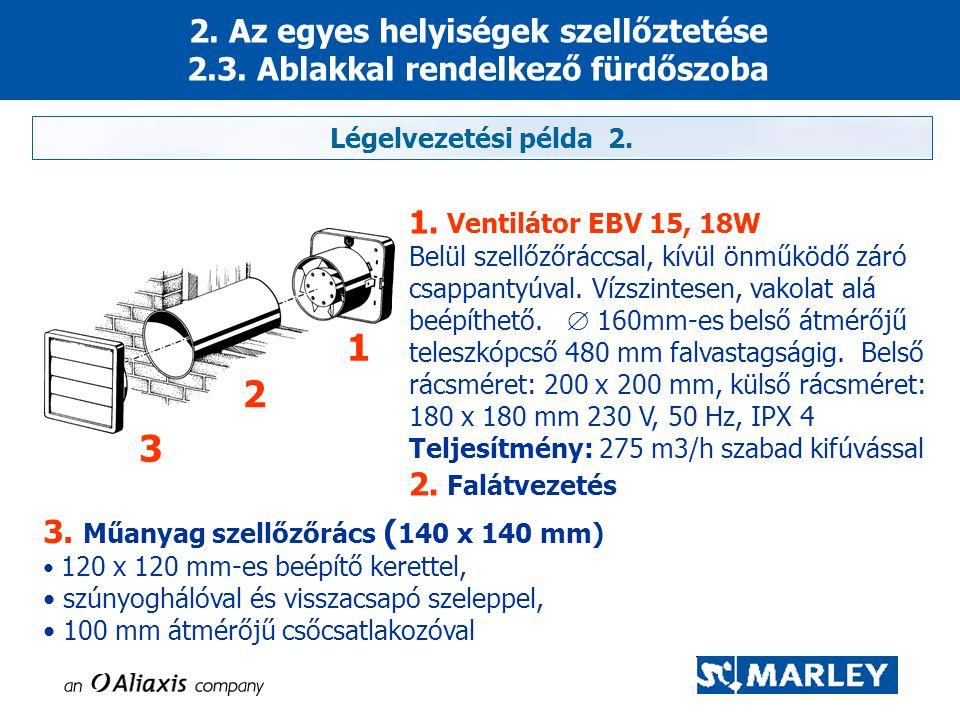 2. Az egyes helyiségek szellőztetése 2.3. Ablakkal rendelkező fürdőszoba 1. Ventilátor EBV 15, 18W Belül szellőzőráccsal, kívül önműködő záró csappant
