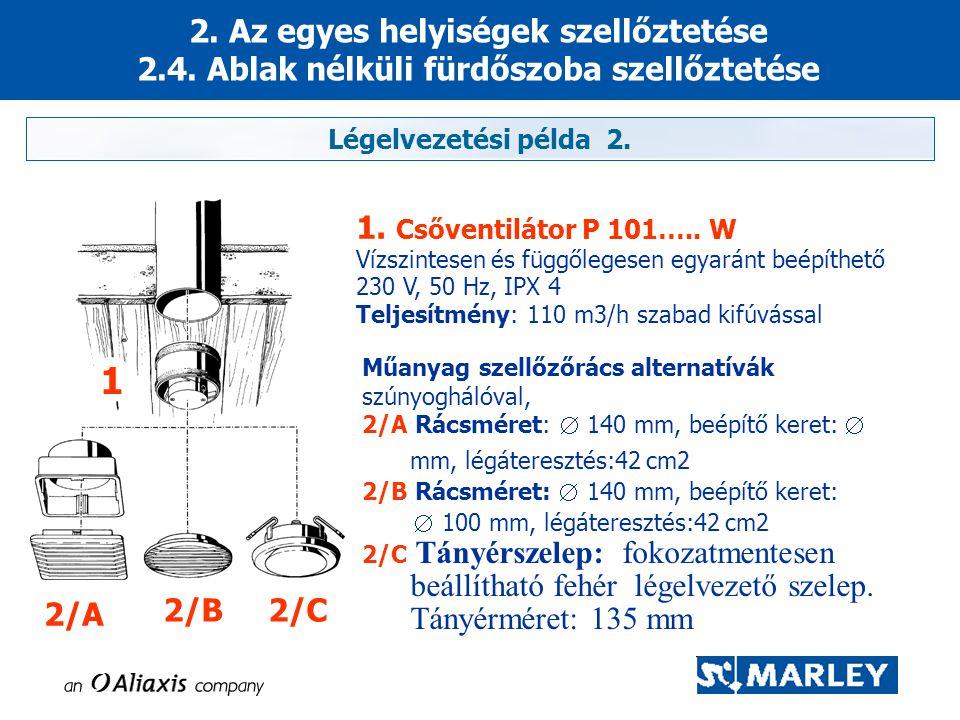 2. Az egyes helyiségek szellőztetése 2.4. Ablak nélküli fürdőszoba szellőztetése Légelvezetési példa 2. 2/A 2/B2/C Műanyag szellőzőrács alternatívák s