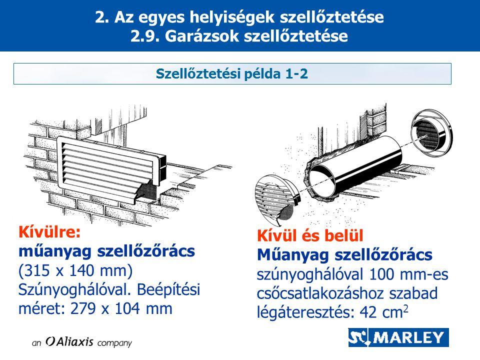 2. Az egyes helyiségek szellőztetése 2.9. Garázsok szellőztetése Kívülre: műanyag szellőzőrács (315 x 140 mm) Szúnyoghálóval. Beépítési méret: 279 x 1