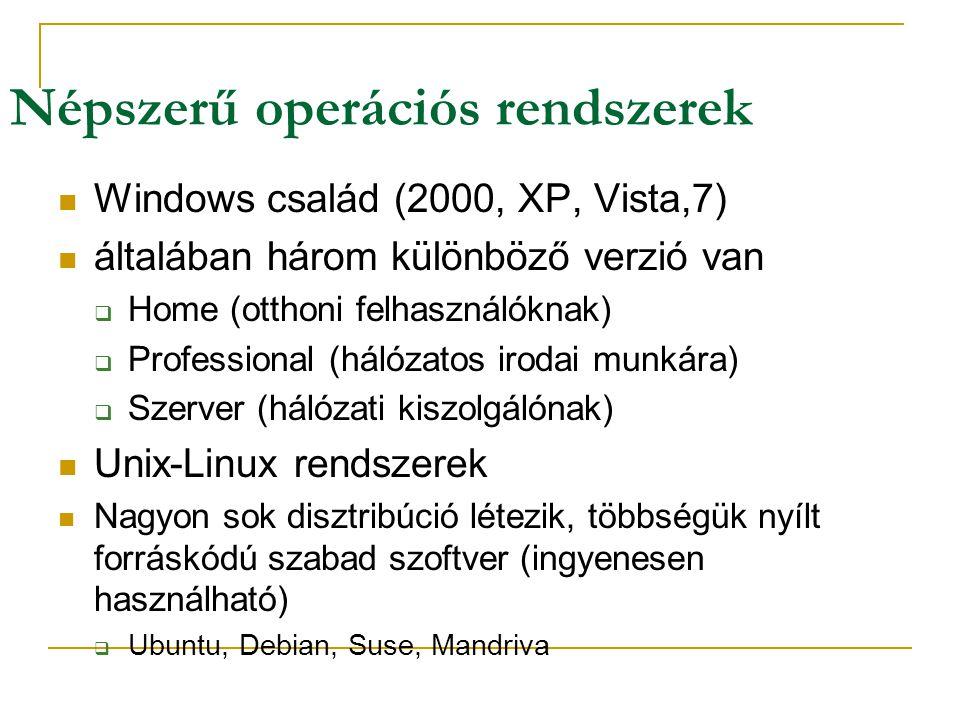 Népszerű operációs rendszerek  Windows család (2000, XP, Vista,7)  általában három különböző verzió van  Home (otthoni felhasználóknak)  Professional (hálózatos irodai munkára)  Szerver (hálózati kiszolgálónak)  Unix-Linux rendszerek  Nagyon sok disztribúció létezik, többségük nyílt forráskódú szabad szoftver (ingyenesen használható)  Ubuntu, Debian, Suse, Mandriva