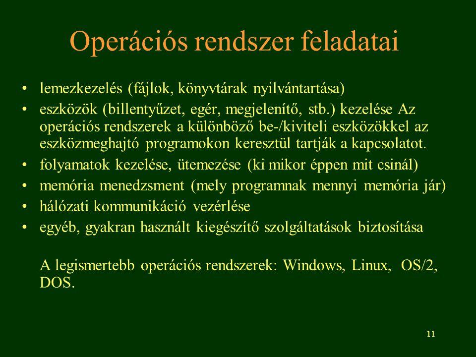 11 Operációs rendszer feladatai •lemezkezelés (fájlok, könyvtárak nyilvántartása) •eszközök (billentyűzet, egér, megjelenítő, stb.) kezelése Az operációs rendszerek a különböző be-/kiviteli eszközökkel az eszközmeghajtó programokon keresztül tartják a kapcsolatot.
