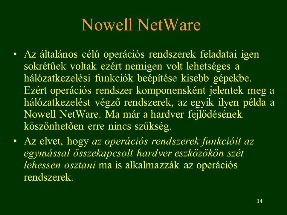 14 Nowell NetWare •Az általános célú operációs rendszerek feladatai igen sokrétűek voltak ezért nemigen volt lehetséges a hálózatkezelési funkciók beépítése kisebb gépekbe.