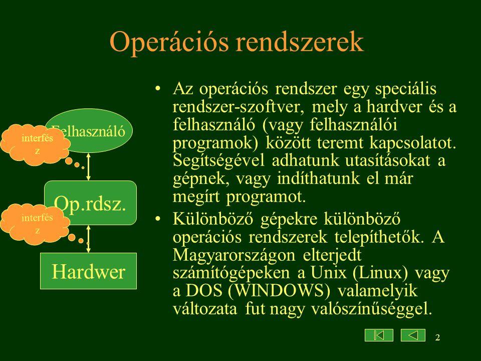 2 Operációs rendszerek •Az operációs rendszer egy speciális rendszer-szoftver, mely a hardver és a felhasználó (vagy felhasználói programok) között teremt kapcsolatot.