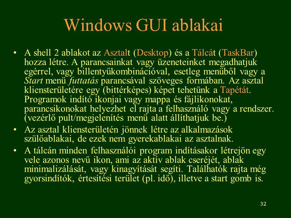 32 Windows GUI ablakai •A shell 2 ablakot az Asztalt (Desktop) és a Tálcát (TaskBar) hozza létre.