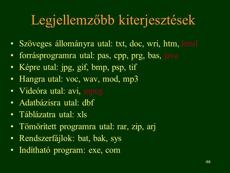 46 Legjellemzőbb kiterjesztések •Szöveges állományra utal: txt, doc, wri, htm, html •forrásprogramra utal: pas, cpp, prg, bas, java •Képre utal: jpg, gif, bmp, psp, tif •Hangra utal: voc, wav, mod, mp3 •Videóra utal: avi, mpeg •Adatbázisra utal: dbf •Táblázatra utal: xls •Tömörített programra utal: rar, zip, arj •Rendszerfájlok: bat, bak, sys •Indítható program: exe, com