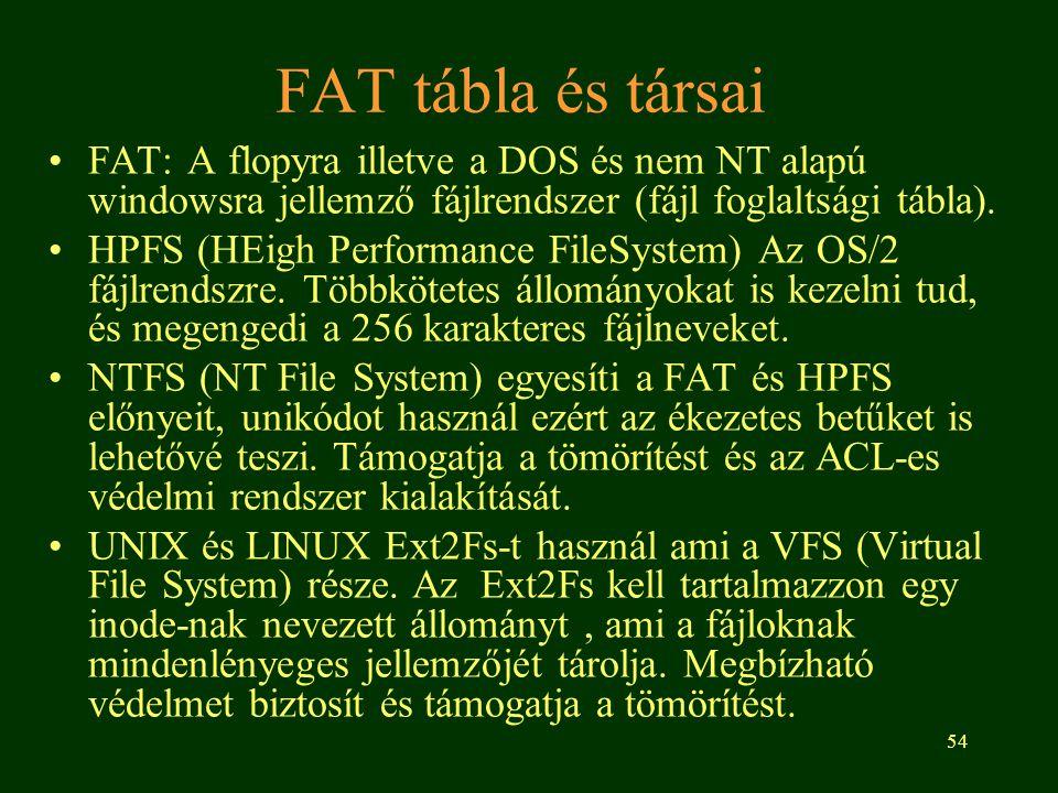 54 FAT tábla és társai •FAT: A flopyra illetve a DOS és nem NT alapú windowsra jellemző fájlrendszer (fájl foglaltsági tábla).