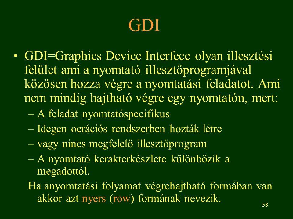 58 GDI •GDI=Graphics Device Interfece olyan illesztési felület ami a nyomtató illesztőprogramjával közösen hozza végre a nyomtatási feladatot.
