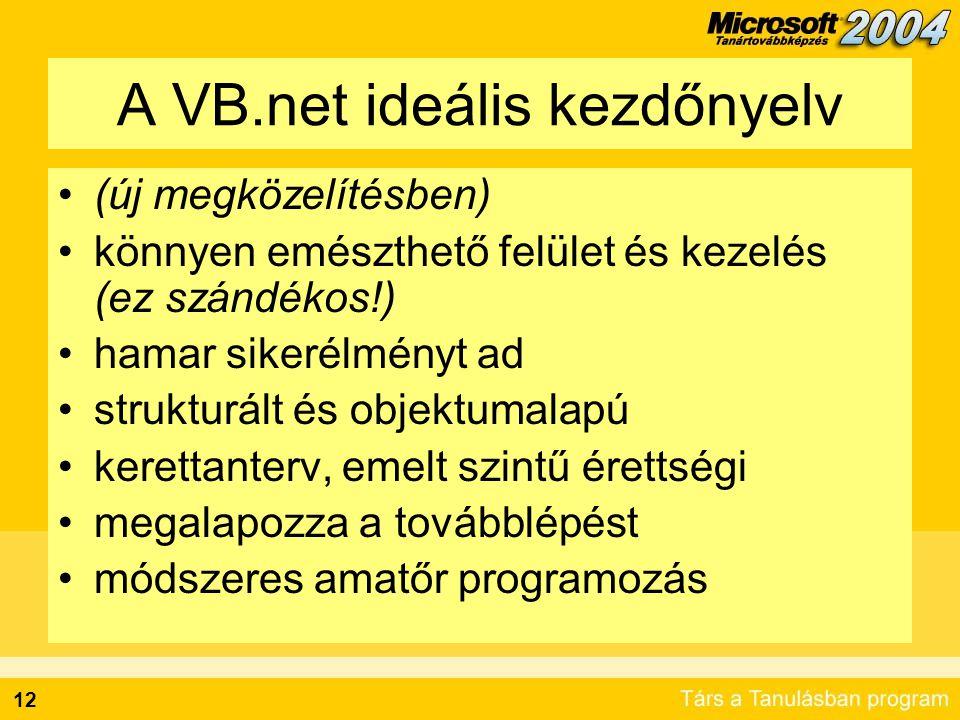 12 A VB.net ideális kezdőnyelv •(új megközelítésben) •könnyen emészthető felület és kezelés (ez szándékos!) •hamar sikerélményt ad •strukturált és obj