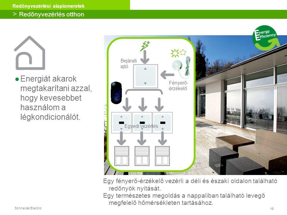 19 Redőnyvezérlési alapismeretek Schneider Electric ●Energiát akarok megtakarítani azzal, hogy kevesebbet használom a légkondicionálót. > Redőnyvezérl