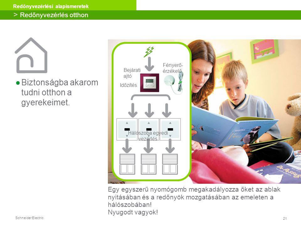 21 Redőnyvezérlési alapismeretek Schneider Electric ●Biztonságba akarom tudni otthon a gyerekeimet. Egy egyszerű nyomógomb megakadályozza őket az abla