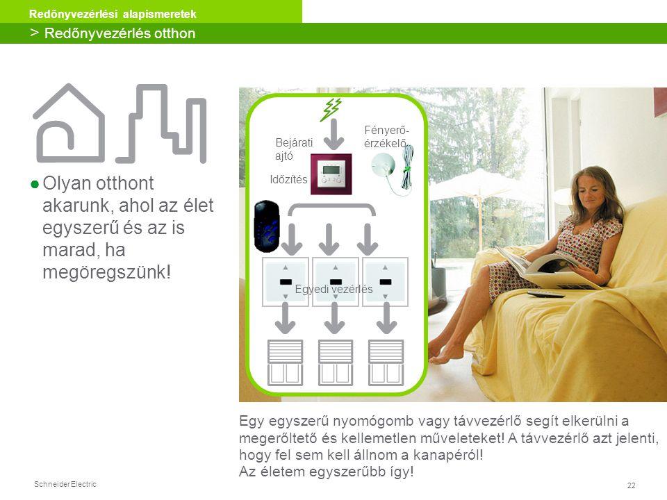22 Redőnyvezérlési alapismeretek Schneider Electric ●Olyan otthont akarunk, ahol az élet egyszerű és az is marad, ha megöregszünk! Egy egyszerű nyomóg