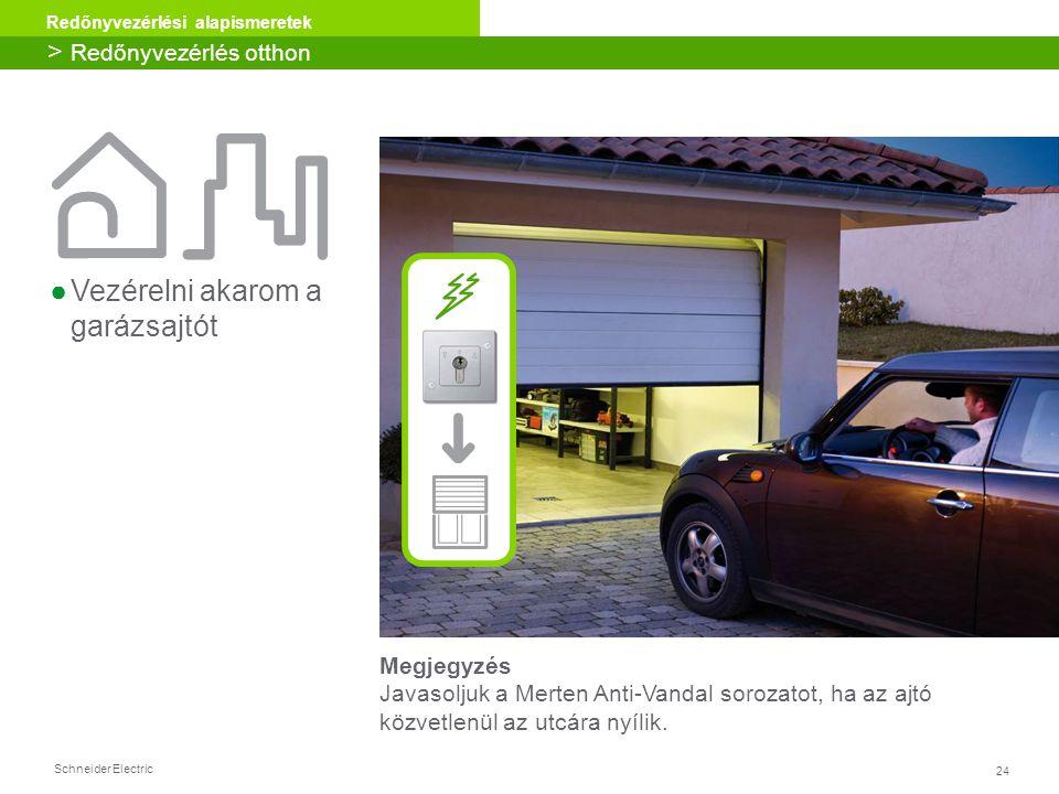 24 Redőnyvezérlési alapismeretek Schneider Electric Megjegyzés Javasoljuk a Merten Anti-Vandal sorozatot, ha az ajtó közvetlenül az utcára nyílik. ●Ve