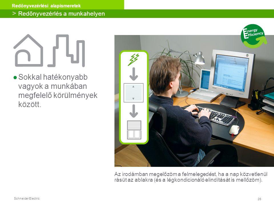 26 Redőnyvezérlési alapismeretek Schneider Electric Energy Efficiency ●Sokkal hatékonyabb vagyok a munkában megfelelő körülmények között. Az irodámban