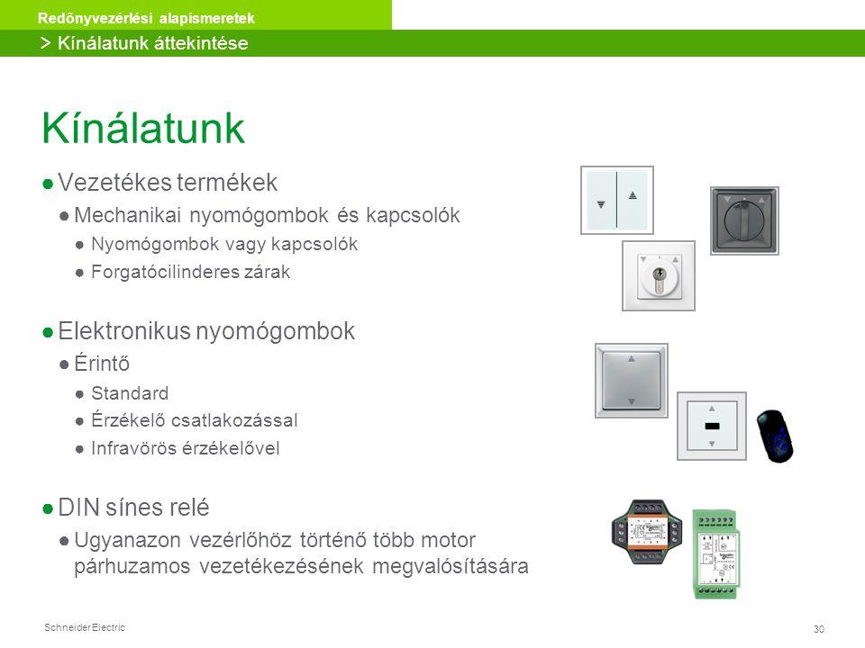 30 Redőnyvezérlési alapismeretek Schneider Electric Kínálatunk ●Vezetékes termékek ●Mechanikai nyomógombok és kapcsolók ●Nyomógombok vagy kapcsolók ●F