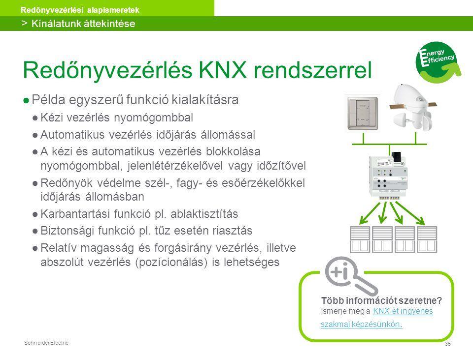 35 Redőnyvezérlési alapismeretek Schneider Electric Redőnyvezérlés KNX rendszerrel ●Példa egyszerű funkció kialakításra ●Kézi vezérlés nyomógombbal ●A