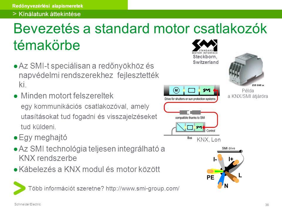 36 Redőnyvezérlési alapismeretek Schneider Electric ●Az SMI-t speciálisan a redőnyökhöz és napvédelmi rendszerekhez fejlesztették ki. ● Minden motort