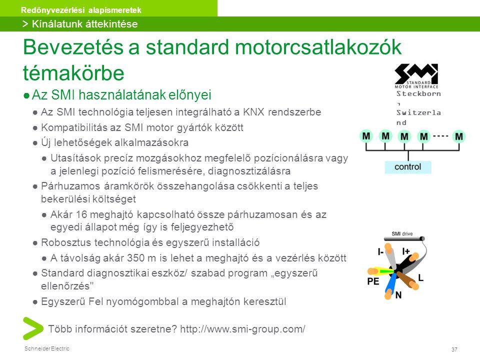 37 Redőnyvezérlési alapismeretek Schneider Electric Bevezetés a standard motorcsatlakozók témakörbe ●Az SMI használatának előnyei ●Az SMI technológia