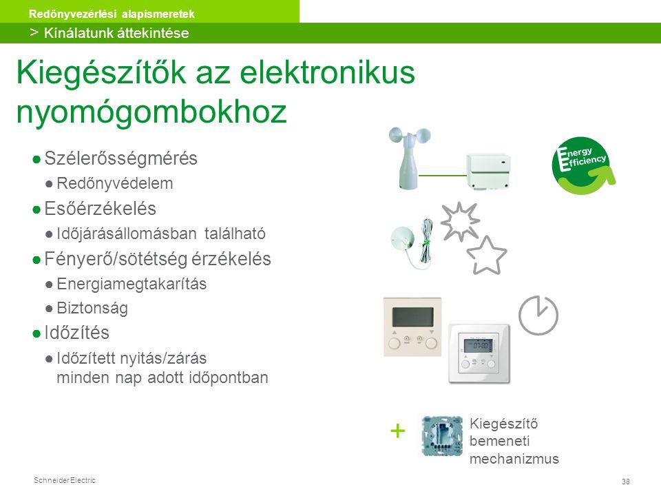 38 Redőnyvezérlési alapismeretek Schneider Electric Kiegészítő bemeneti mechanizmus + Kiegészítők az elektronikus nyomógombokhoz ●Szélerősségmérés ●Re