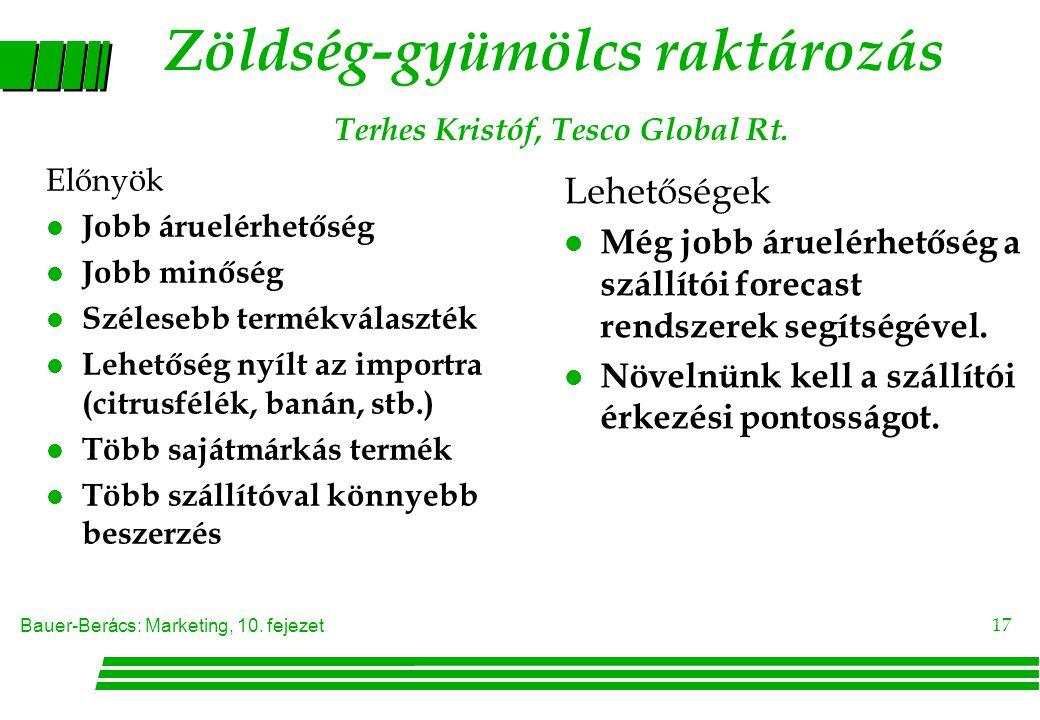 Bauer-Berács: Marketing, 10. fejezet 17 Előnyök l Jobb áruelérhetőség l Jobb minőség l Szélesebb termékválaszték l Lehetőség nyílt az importra (citrus