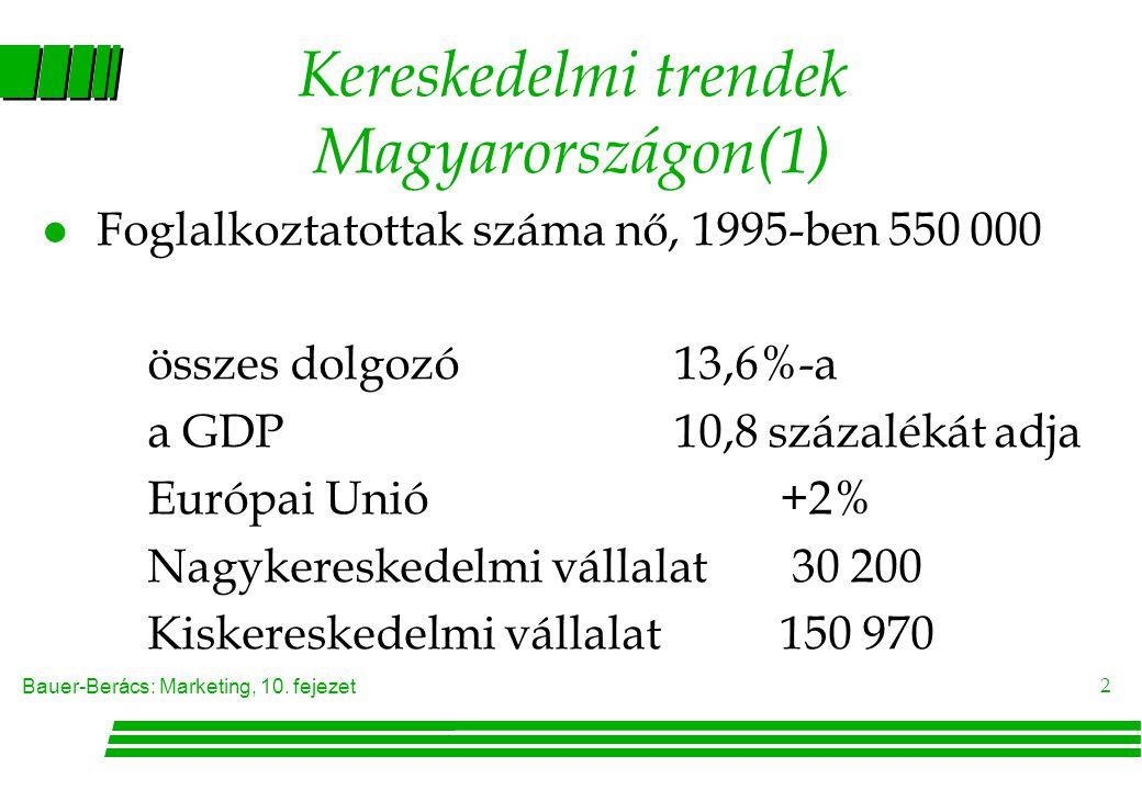 Bauer-Berács: Marketing, 10. fejezet 2 Kereskedelmi trendek Magyarországon(1) l Foglalkoztatottak száma nő, 1995-ben 550 000 összes dolgozó13,6%-a a G